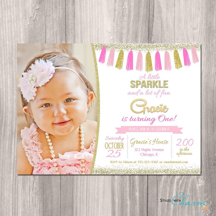 Pink and gold 1st birthday invitation, Pink and gold invitation, first birthday invitation, girl birthday invitation, printable invitation by StyleswithCharm on Etsy https://www.etsy.com/listing/267795460/pink-and-gold-1st-birthday-invitation