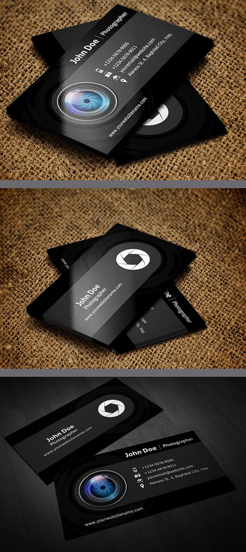 Photographer Business Card Template  #businesscards #businesscardstemplates #templates