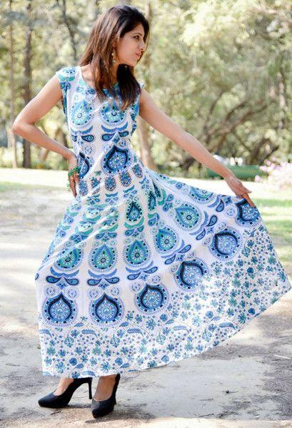 Bodycon Dresses – Mandala Women's Long Hand Block Beach Cotton Dress – a unique product by IndianCraftPalace on DaWanda