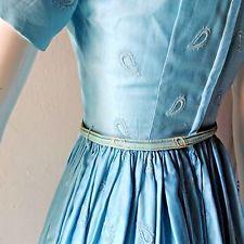 Vintage ANNE FOGARTY Dress Teal Cotton 1950s XS Betty Draper Margot sz 02 SM