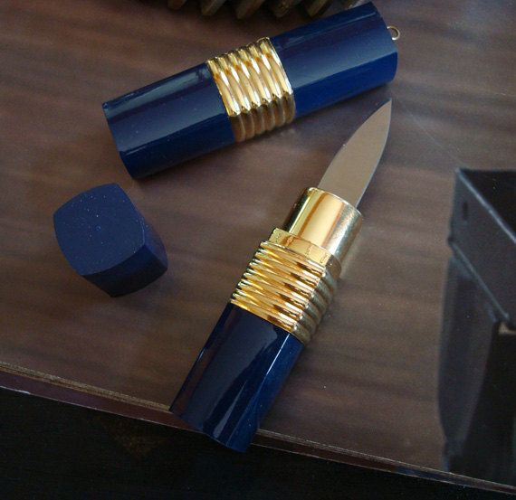 a lipstick container (that truly looks just like lipstick) hiding a blade.