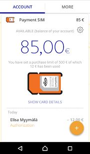 Elisa Wallet - Renewal: Contactless payment SIM view (Android)