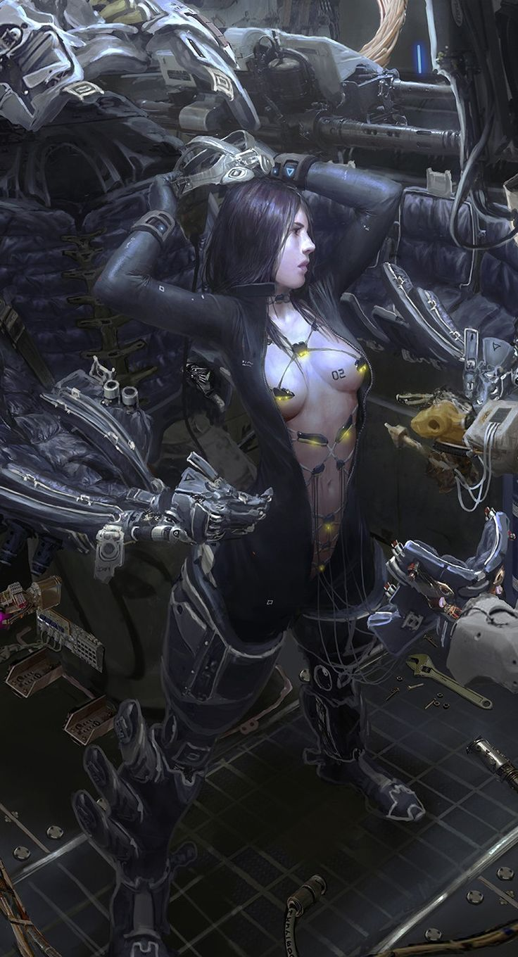 'No.02' ~cyborg girl illustration by yintion J - mecha suits on women always try to capitalize on impractical, and sexistic, clothing...