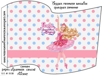 Barbie e as Sapatilhas Mágicas - Kit Completo com molduras para convites, rótulos para guloseimas, lembrancinhas e imagens!