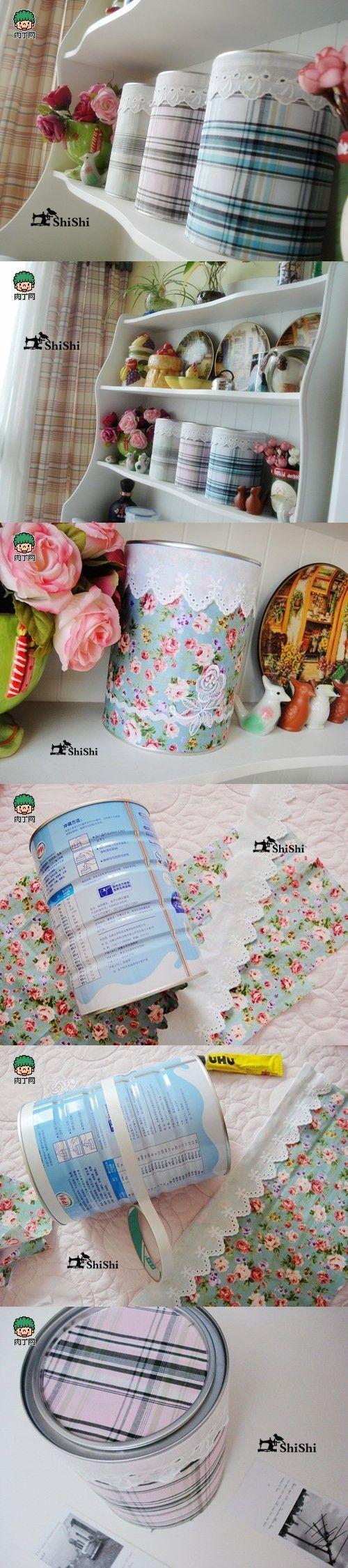 Reciclando creativamente latas de leche y otros | Aprender manualidades es facilisimo.com