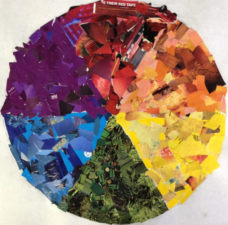 Large color wheel collage-awesome way for students to learn their colors! I used this as a small group lesson with special needs students-it promotes learning of colors/color ranges, positive social interaction, problem solving and teamwork!