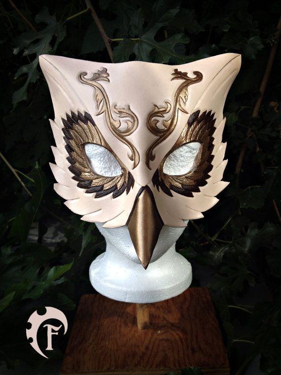 Venitian Owl leather mask, masquerade, masque,cuir,fantasy,costume,halloween, gold,bird,masquarade,c