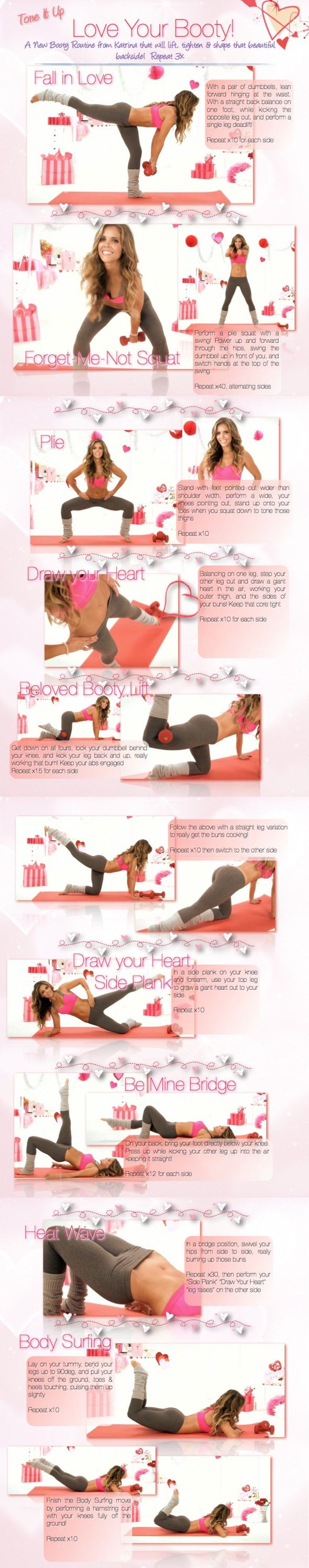 love your booty! these moves will lift & sculpt your buyy and tone the thighs. working major muscle groups like your thighs and rear also burns major calories... bonus!