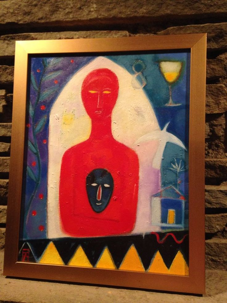 Eve Aspinwall Abstract Oil on Canvas Painting The Mask II 2002 Massachusetts  #Abstract