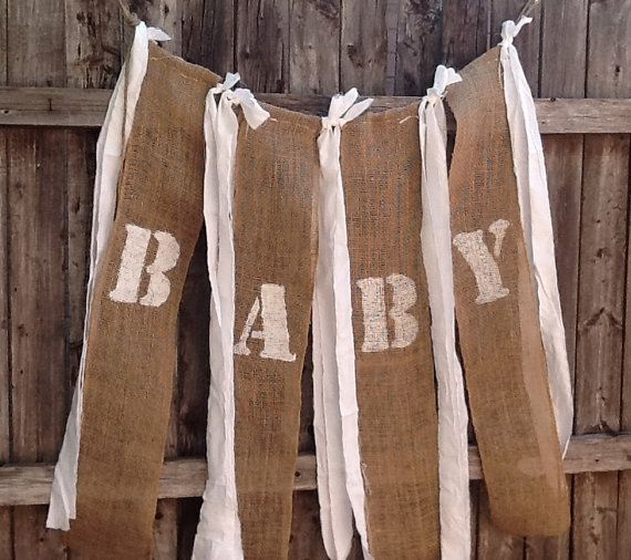 Baby Love Burlap Banner For Babys Room Country Shabby Baby Shower Barn Chic  Banner Rustic Photo