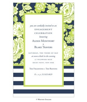 Love pairing two patterns! - Pea Pod Paper and Gifts Green Navy Brooke Invitation