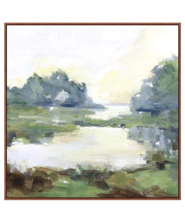 """- Willow Springs - large abstract landscape painting printed on stretched canvas - artist enhancement - custom frame - measures 35.5"""" x 35.5"""" / ready for hanging - custom made / minimum 2-4 week deliv                                                                                                                                                                                 More"""