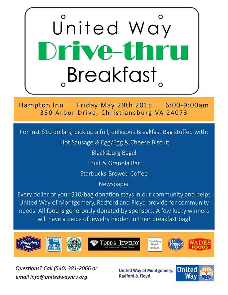 the united way of montgomery radford floyd present their drive thru breakfast fundraiser