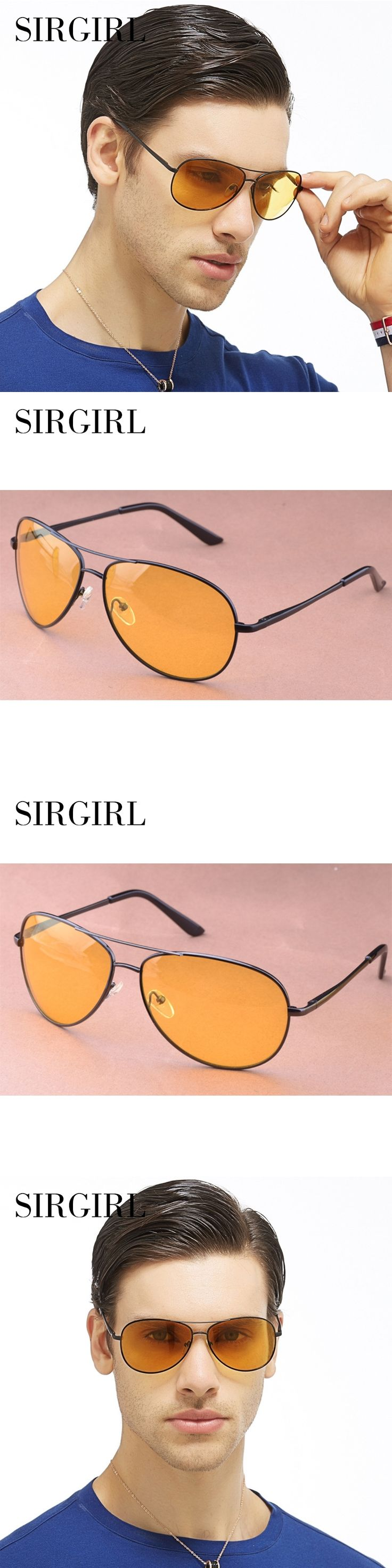 Sirgirl Day and Night Driving Multi-Function Polarized Pilot Sunglasses Men Gradient Lens Anti-Glare Night Vision Glasses