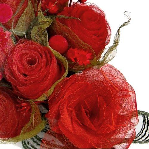 Bouquet de flores vermelhas - folhas esqueletizadas