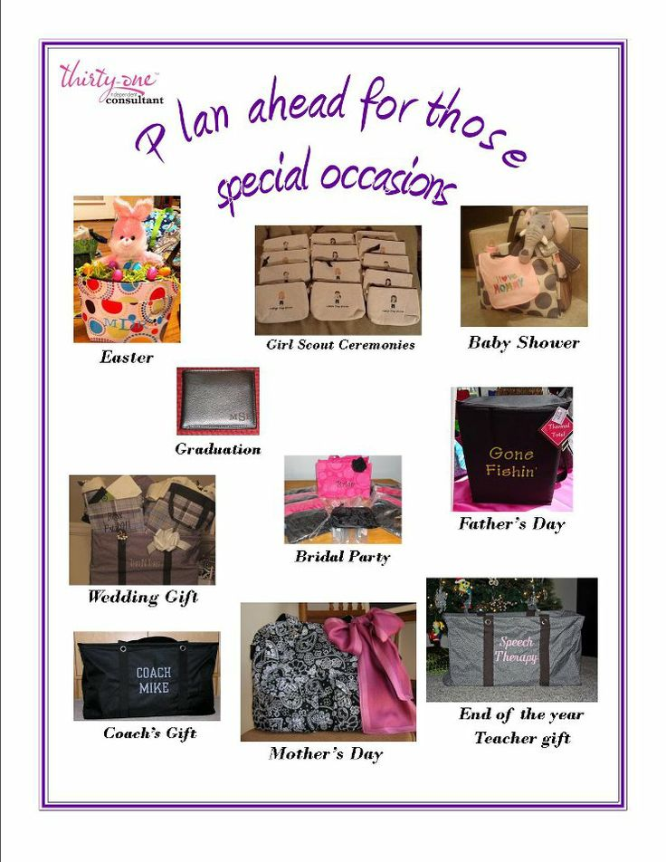 Thirty~One gifts for all occasions!  *I did not make this flier although it was made available for use*  http://www.mythirtyone.com/ksquared
