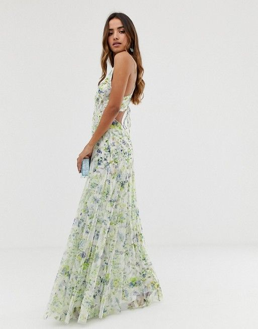 0760cc4e33 DESIGN embellished floral strappy back maxi dress in 2019 | Wedding ...