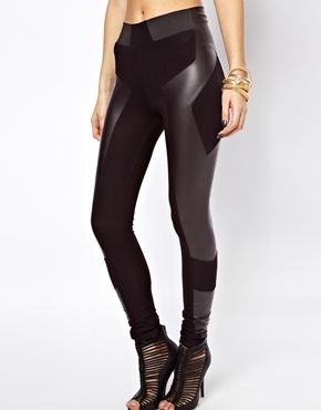 Image 3 of ASOS Leggings in High Waist with Leather Look Panel Detail