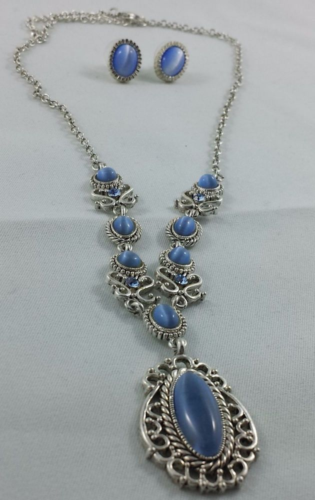 Silver Star Sapphire Look Necklace and Earrings Set of Costume Jewelry  #JohnHenry