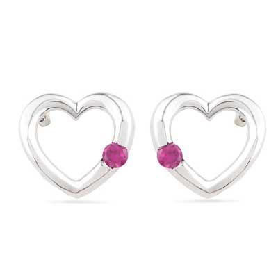 Lab-Created Ruby Heart Earrings in Sterling Silver