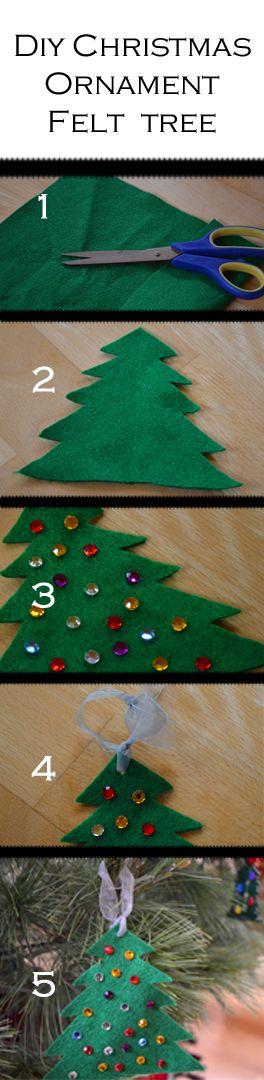 DIY Christmas Ornaments Felt Jeweled Tree