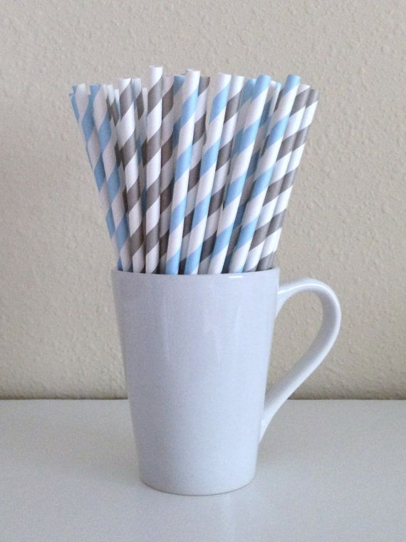 Paper Straws  Light Blue and Light Gray / Grey by PuppyCatCrafts, $3.80