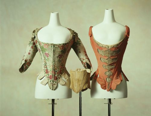 lostsplendor:  Corsets, c. 1760, France.  Source: The Kyoto Costume Institute  the one on the left…gaahhhmazing.