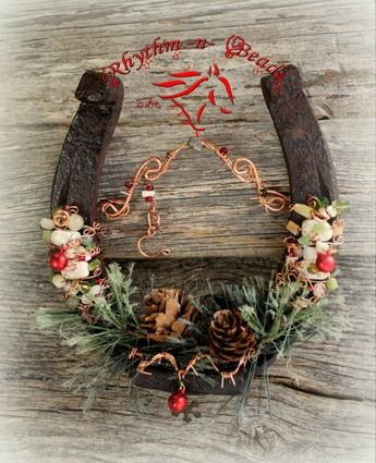 Beaded Horseshoe 'COUNTRY CHRISTMAS'  Draft-Christmas horseshoe decor, christmas horseshoe, western christmas decor, lucky horseshoe, vintage horseshoe,