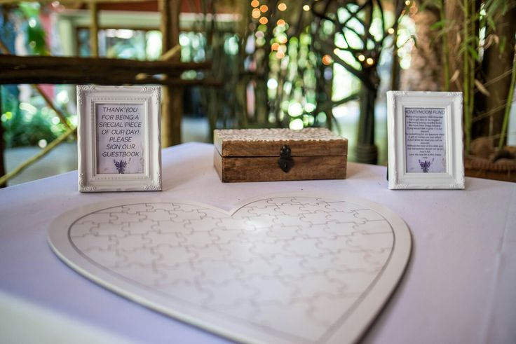 """Our unique guestbook....""""thank you for being a special piece in our day"""" #weddingguestbook #guestbookidea #wedding #honeymoonfund #puzzleheart #weddingideas #erweewedding"""