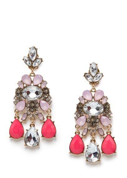 MANGO - TOUCH - Crystal embellished chandelier earrings