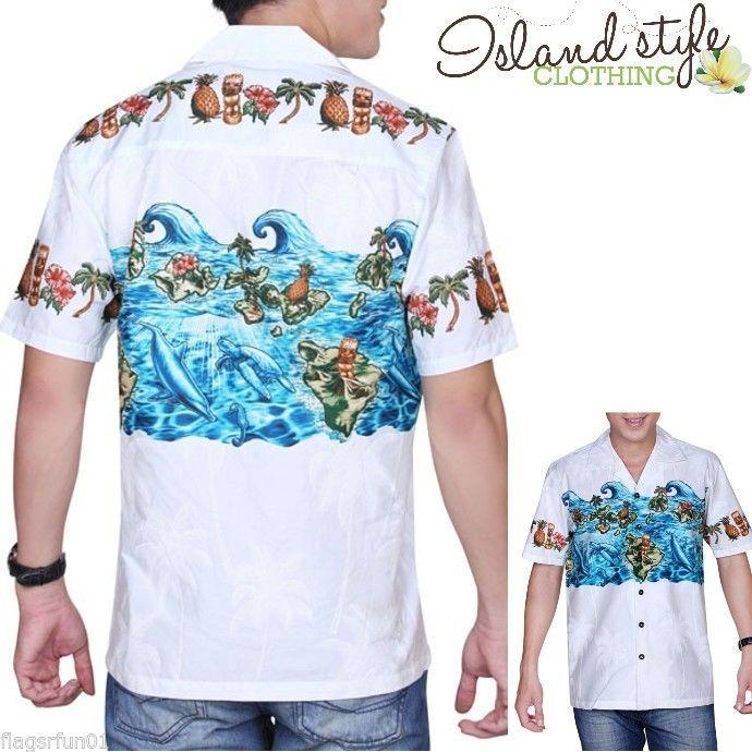 NEW Mens Hawaiian Shirt TIKI PRINT Cotton Luau Party Rockabilly Cheap Surf