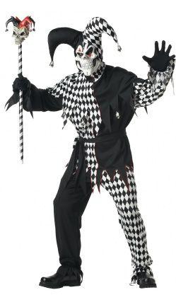 Costume Bouffon Mauvais farceur rayé noir et blanc
