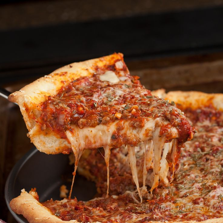 Deep Dish Pizza, Chicago style.  It's amazing out of the oven.  Beats restaurant pizza.