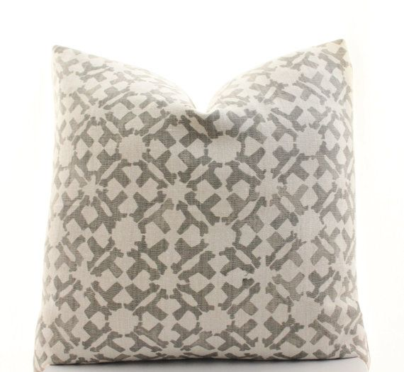 This pillow cover is made to order and is sewn from Peter Dunham Textiles Orcha fabric in the Ash colorway, featuring a natural colored base with gray