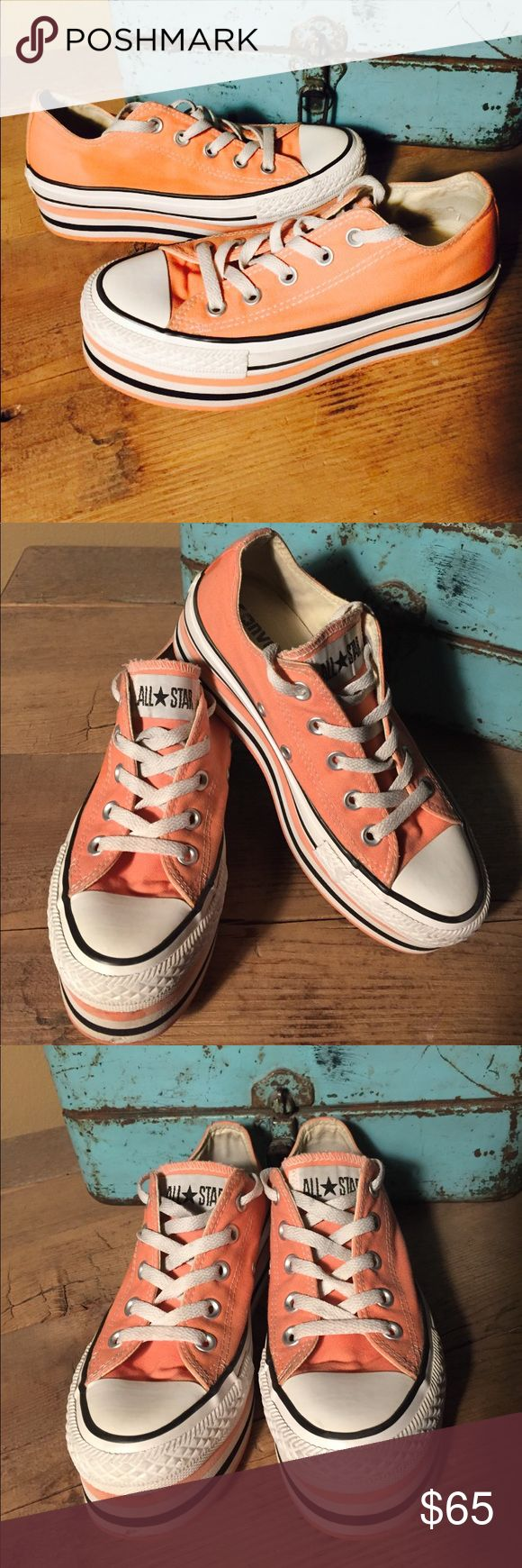 """Converse Ox Coral Double Platform Women's Size 5.5. 2"""" Platform Preowned and plenty of use left in these funky sneakers! Only flaw on rubber trim is shown on last photo and it's on right shoe. Gently worn. Super cute and for sure to be an eye catcher. What a great price for you! Retails for $175 Converse Shoes Sneakers"""