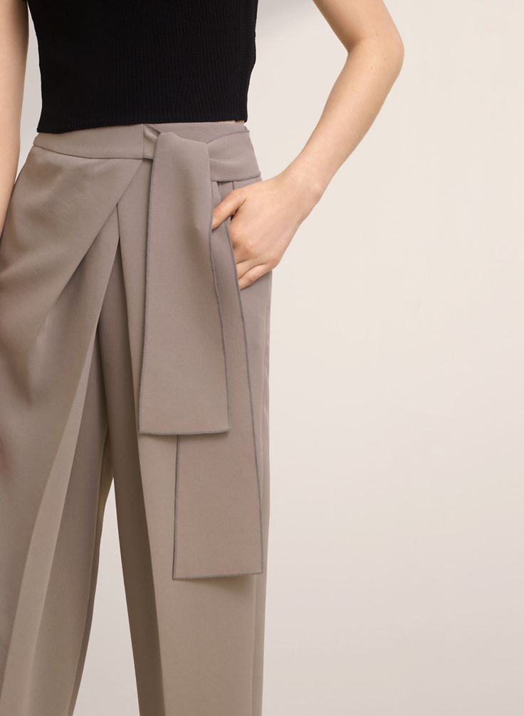 Tie-front trousers in gorgeously smooth Japanese fabric.