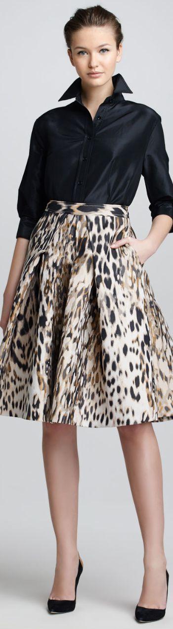 Carolina Herrera Classic Silk Taffeta Blouse & Animal-Print Jacquard A-Line Skirt