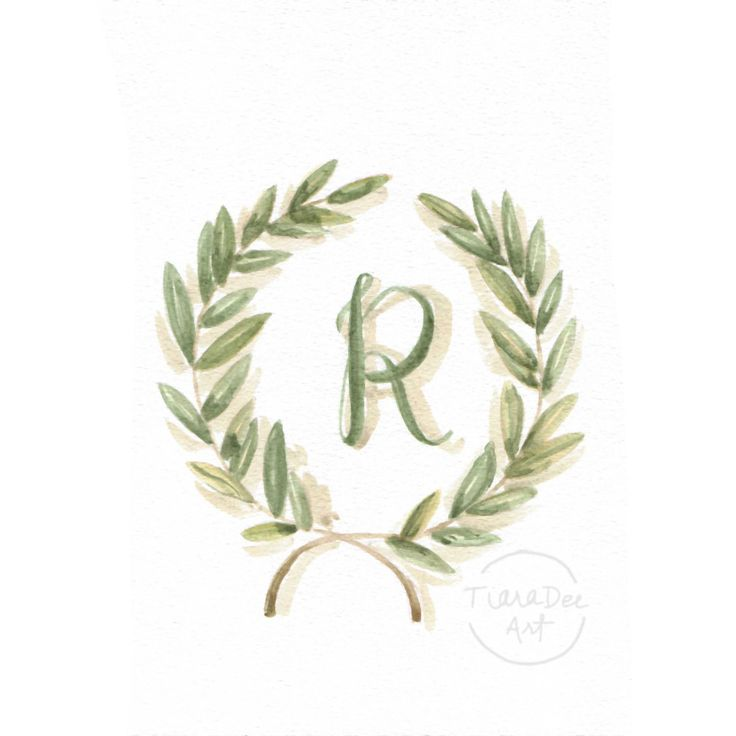 "Original Watercolor Letter R - 8x10"" Monogram Painting - Letter Art - Olive Branch Laurel Wreath - Monogram Watercolor - Initial Letter Art by TiaraDeeArt on Etsy"