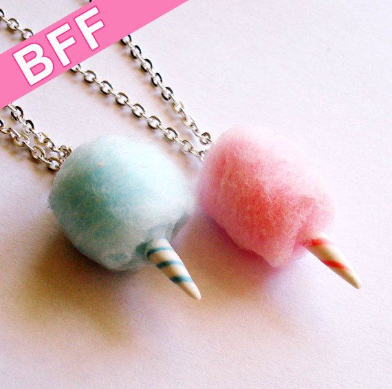 BFF Necklaces Carnival Cotton Candy Best Friends Necklaces Pink and Blue - Polymer Clay Food Jewelry - https://www.facebook.com/different.solutions.page