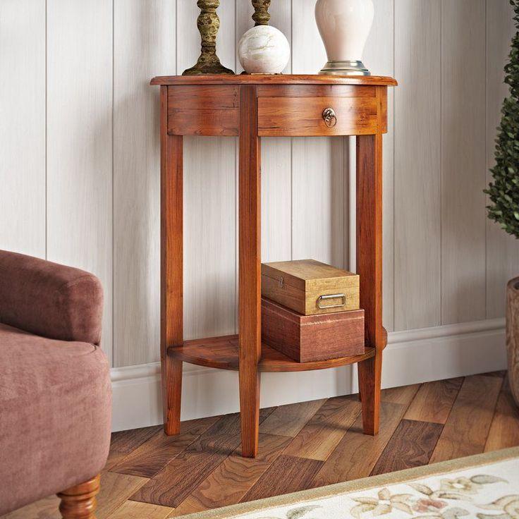 Wooden Console Table Mahogany 1 Drawer Brown Shelf Handmade Hallway  Furniture