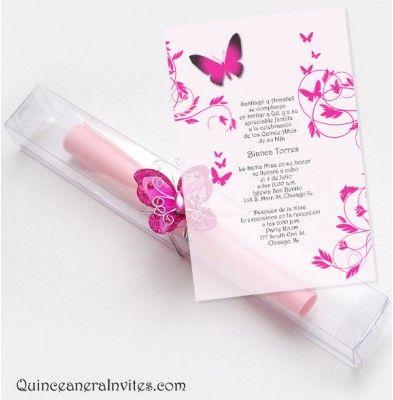 Quinceanera Scroll Invitations Kit - Butterflies & Box
