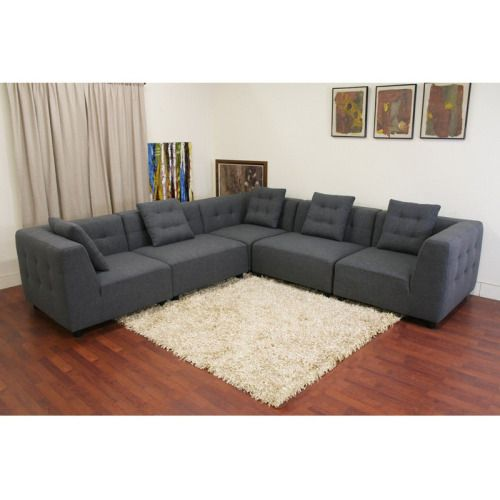 Baxton Studio Alcoa Gray Twill Sectional Sofa Modular