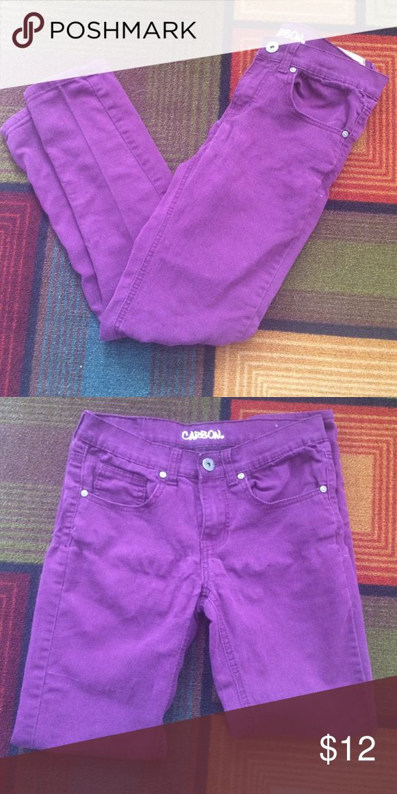Purple Skinny Pants These Carbon purple pants are a skinny fit and size 28x30. 75% Cotton, 22% Polyester, 3% Spandex. Rue 21 Pants