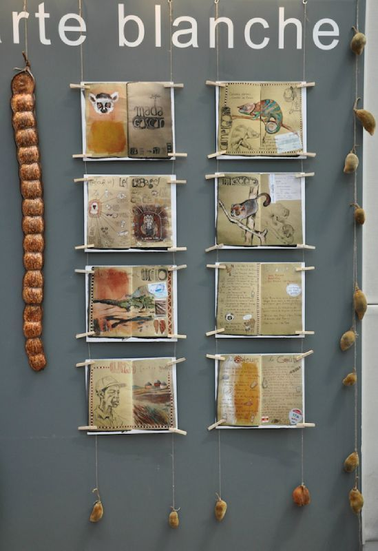 """... interesting way to display journal pages ... art exhibit """"carte blanche"""" by stephanie ledoux ..."""