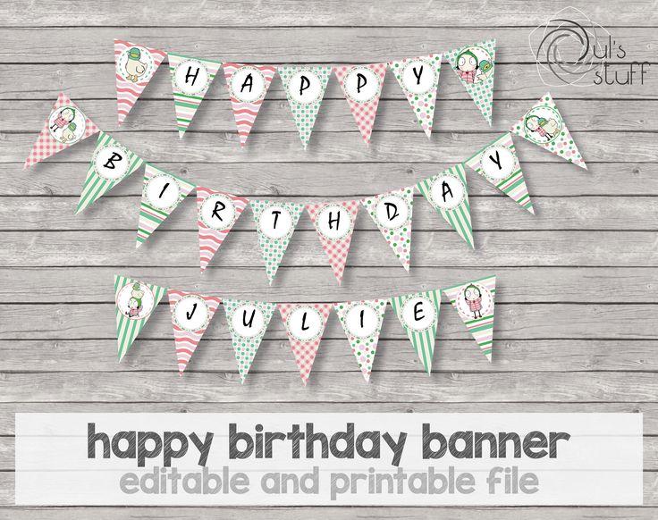 Banner de feliz cumpleaños de Sarah y Pato imprimible de DulsStuff en Etsy