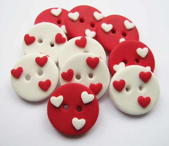 10 x Love hearts  set of 10 polymer clay buttons by ColorMyButtons, $5.25
