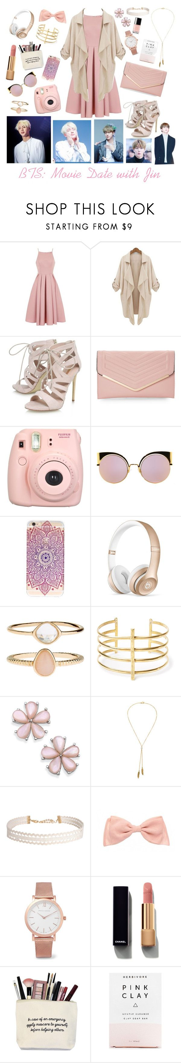 """""""BTS: Movie Date with Jin"""" by lily-x-kpop ❤ liked on Polyvore featuring Chi Chi, Carvela, Sasha, Fujifilm, Fendi, Beats by Dr. Dre, Accessorize, BauXo, Bølo and Humble Chic"""