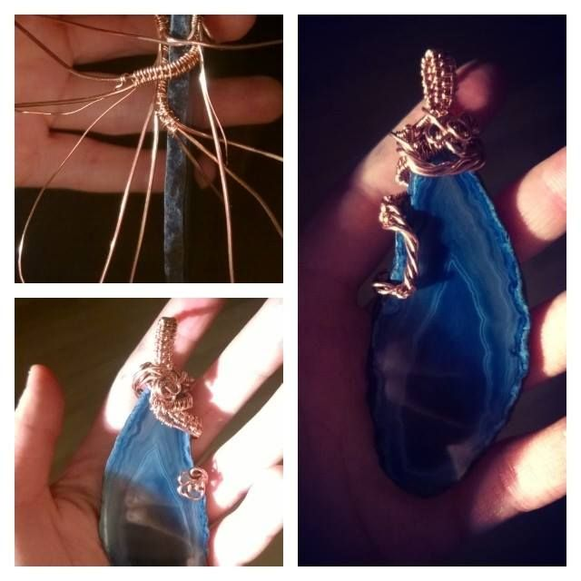 Wire wrapped agate slice, copper work ^_^ !!!