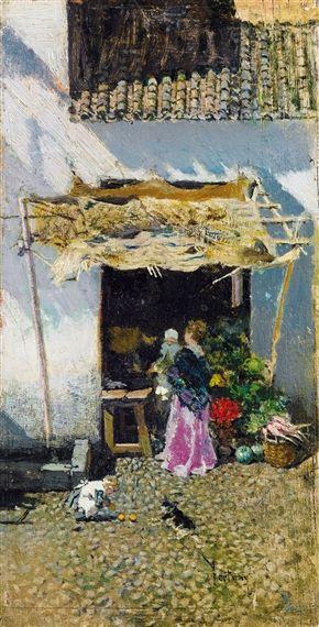 Mariano Fortuny Marsal - Jeune femme à la jupe lilas, devant une échoppe de légumes