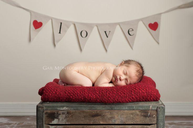 Newborn Love Banner Baby On Crate Portrait Photography